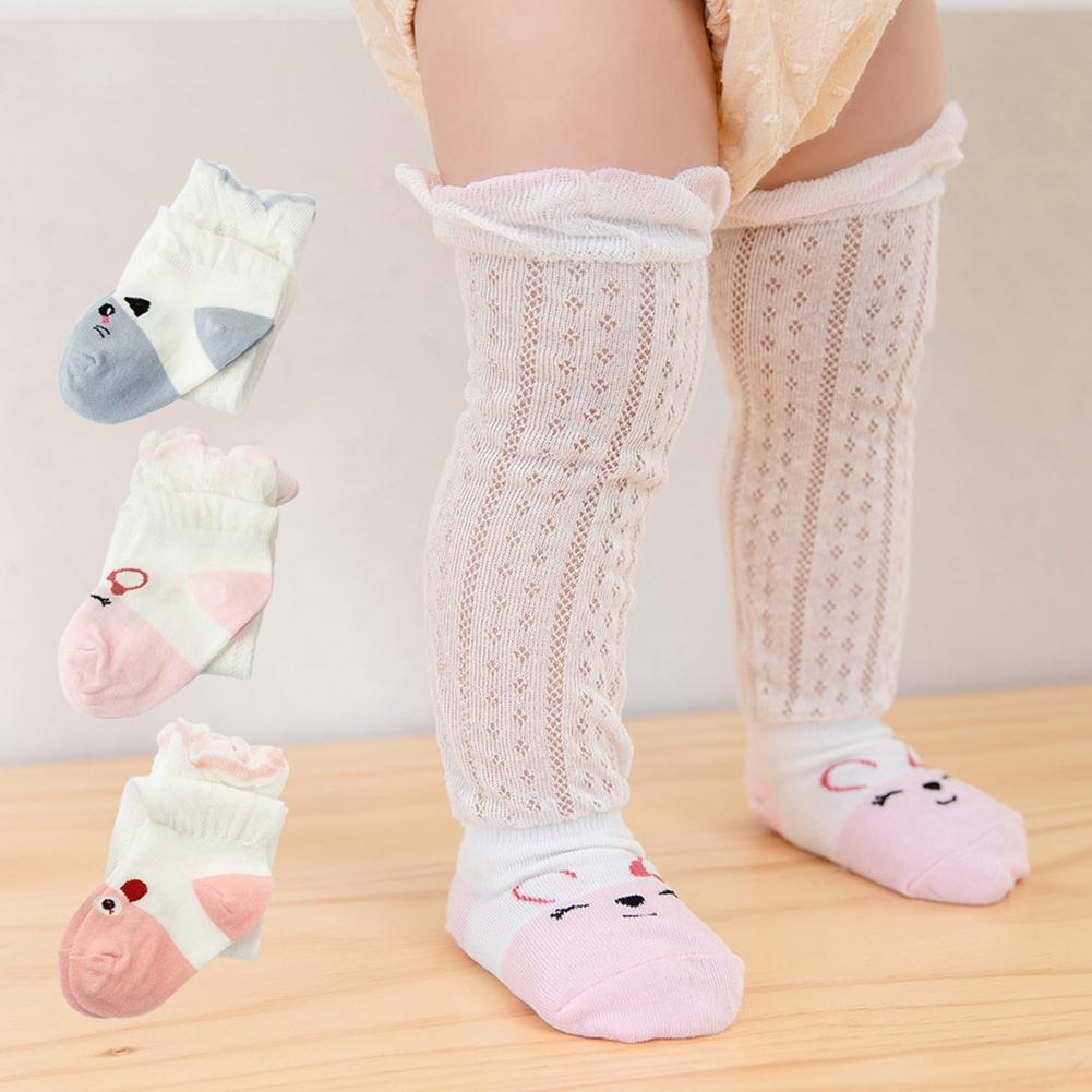 3 Pairs Stockings Cartoon Pattern Anti-mosquito Skin Friendly Girls Knee High Socks for Summer Children Kids Baby Girls