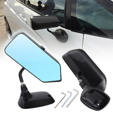 цена на 2pcs Car Rearview Aluminum Alloy Carbon Fiber Rearview Mirror Blue Mirror Modified Rearview Mirror Universal for Car