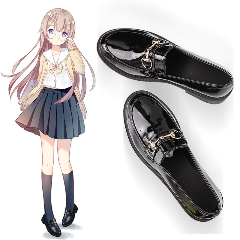 Japanese <font><b>Lolita</b></font> <font><b>shoes</b></font> anime cosplay <font><b>Women</b></font> <font><b>Shoes</b></font> Girl JK Uniform kawaii Harajuku black leather Waterproof Bow High heels image