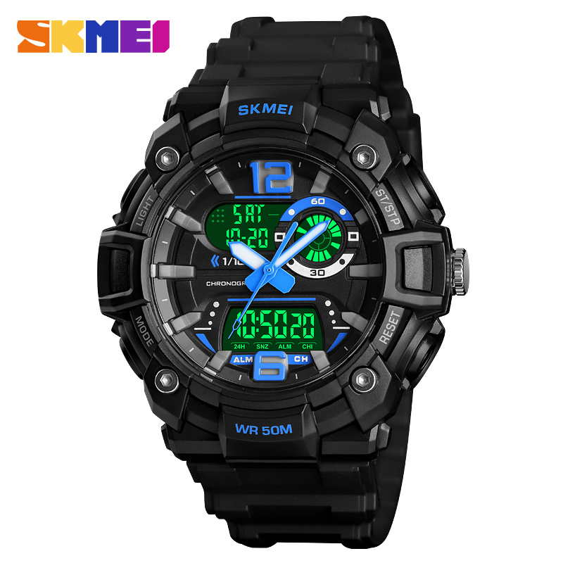 SKMEI 1529 Men Digital 3 Time Watch Sport Watches Countdown Back Light Chronograph Waterproof Male Wristwatch Relogio Masculino