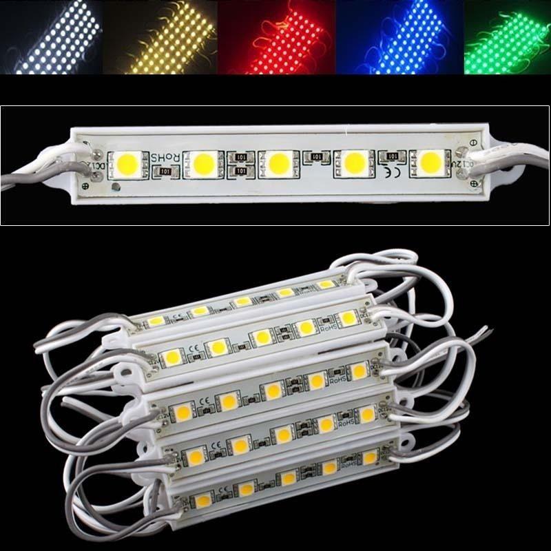 20pcs/Lot Super Bright LED SMD 5050 White /Warm White/Red/Green/Blue/RGB Module strip light SMD 5LEDS Light Waterproof