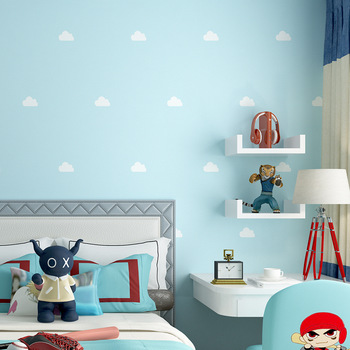 fresh Nordic style wallpaper ins blue sky white clouds children's room boy girl room bedroom princess background wall paper цена 2017