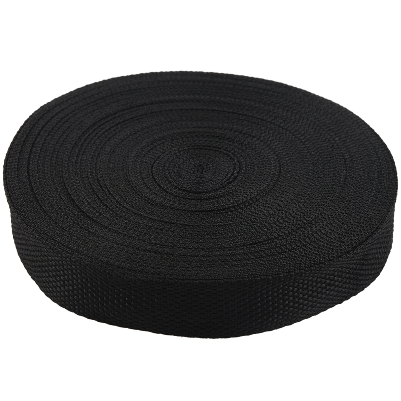 ABZC-25mmx20m Roll Nylon Tape Strap For Webbing Bag Strapping Belt Making DIY Craft - Black