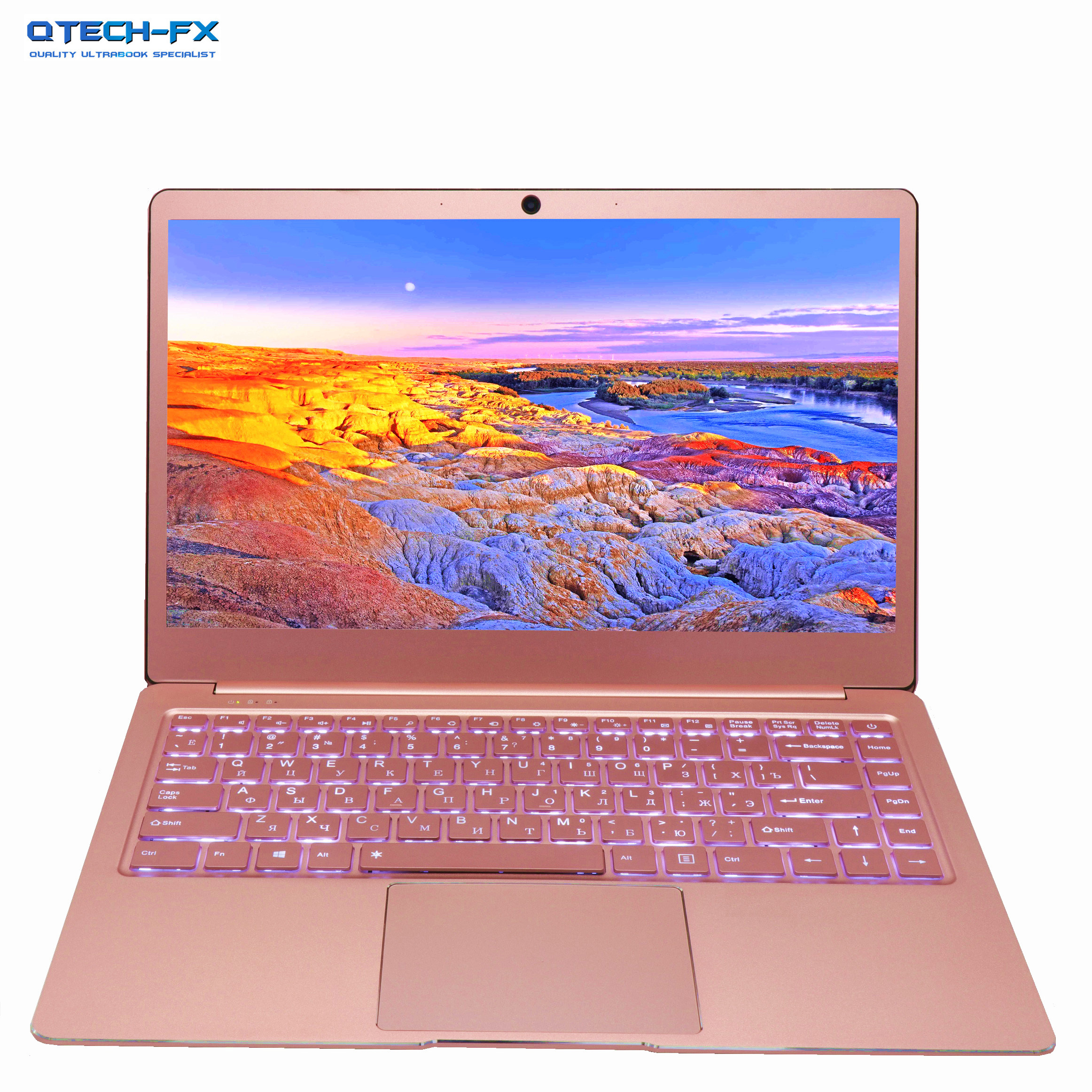 "14"" Laptop Metal 8GB RAM SSD 512GB 256GB 128G CPU Intel Windows Business Arabic French Spanish Russian Keyboard Backlit Silver"