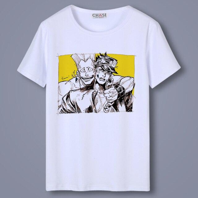 Casual T Shirt Men Anime JoJo's Bizarre Adventure Kujo Jotaro O-Neck Unisex Cosplay T-shirts Short Sleeve Tops Tee Shirts 3