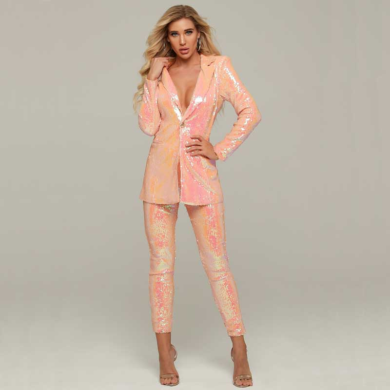 Wholesale 2020 New 2 Piece Set Pink Long Sleeve Sequins V-neck Coat&trousers Sexy Two-piece Suit Celebrity Cocktail Party Dress
