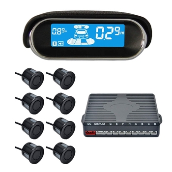 Car LCD Parking Sensor Kit, Dual-Core Front and Rear Reverse R-Adar System LCD Display Kit with 8 Sensors, Which Can Free To Swi