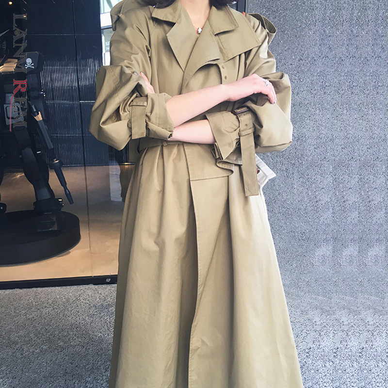 LANMREM Can Ship Overknee Long Style Windbreaker For Woman 2020 Spring Fashion Trendy Trench With Belt Long Coat Famale YH874