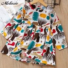 Melario Girls dress 2017 Summer ruffles girls girl clothing sleeveless striped for summer robe fille with hair bands
