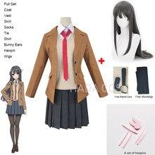 Anime sakurajima mai cosplay traje rascal não sonho de coelho menina senpai mai peruca cosplay e orelhas de coelho headwear uniformes