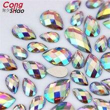 Cong Shao, 100 шт, 5 размеров, прозрачные Стразы AB Mix, отделка с плоской задней частью, кристаллы и камни, бусины из смолы для самостоятельного изготовления свадебного платья 8Y354