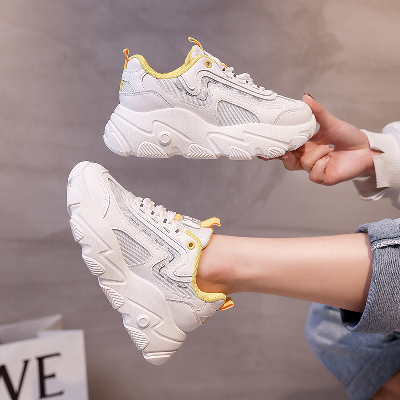 2020 Women White Sneakers Fashion Thick Sole Tenis Female Spring Breathable Casual Shoes Platform Woman Old Dad Vulcanized Shoes