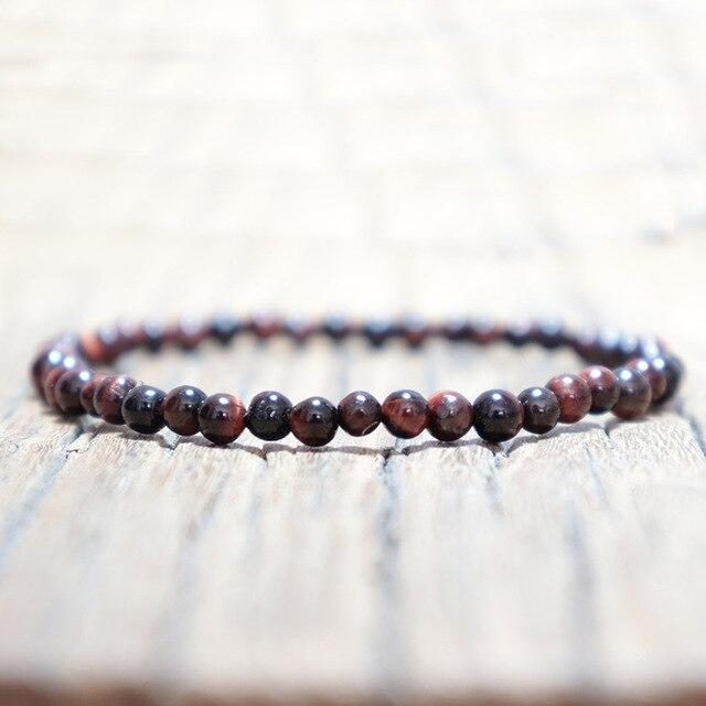 Vintage 4mm Natural Stone Beads Bracelet Fashion Handmade Small Beaded Buddha Mala Braclet For Men Yoga Wristband Jewelry Homme