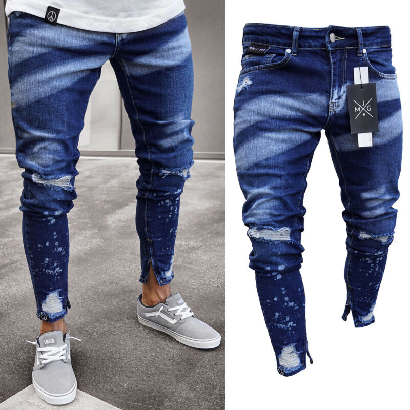 2019 Brand New Style Stylish Men's Ripped Skinny Jeans Destroyed Frayed Slim Fit Denim Pants Trousers