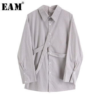 [EAM] Women Striped Split Irregular Leisure Blouse New Lapel Long Sleeve Loose Fit Shirt Fashion Tide Spring Autumn 2020 1X765