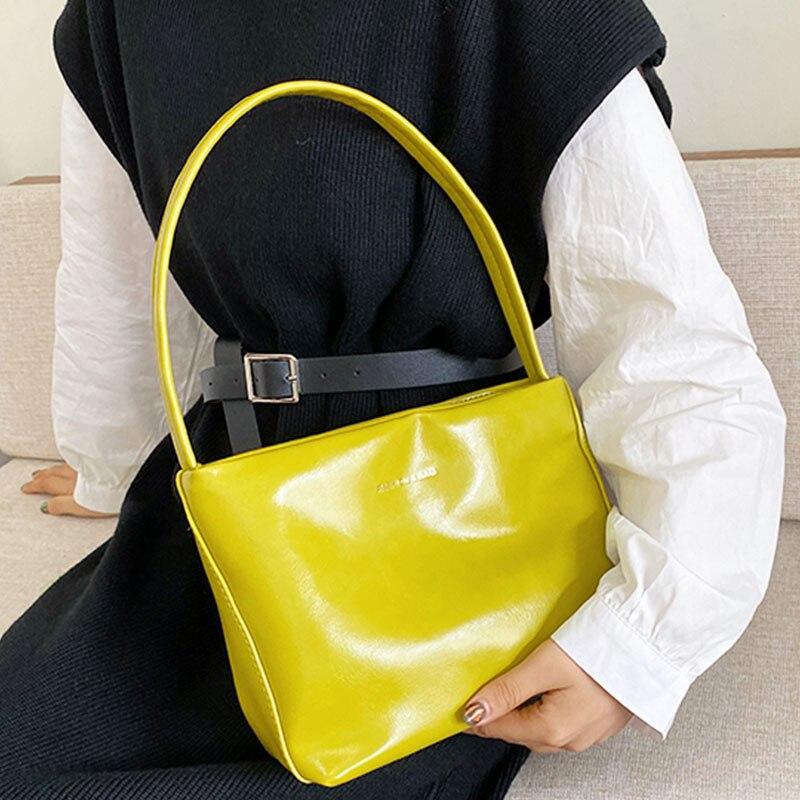 Vintage Shoulder Bag For Women 2019 New Designer Handbag Leather Solid Color Mini Totes Bag High Quality Totes Women Hand Purse