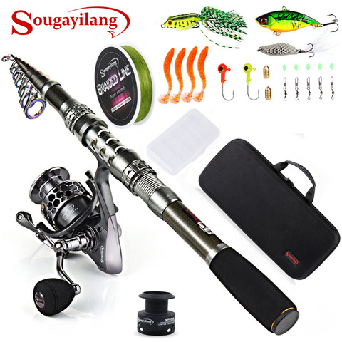 sougayilang combos vara de pesca com vara de pesca telescopica molinetes de fiacao pesca transportadora