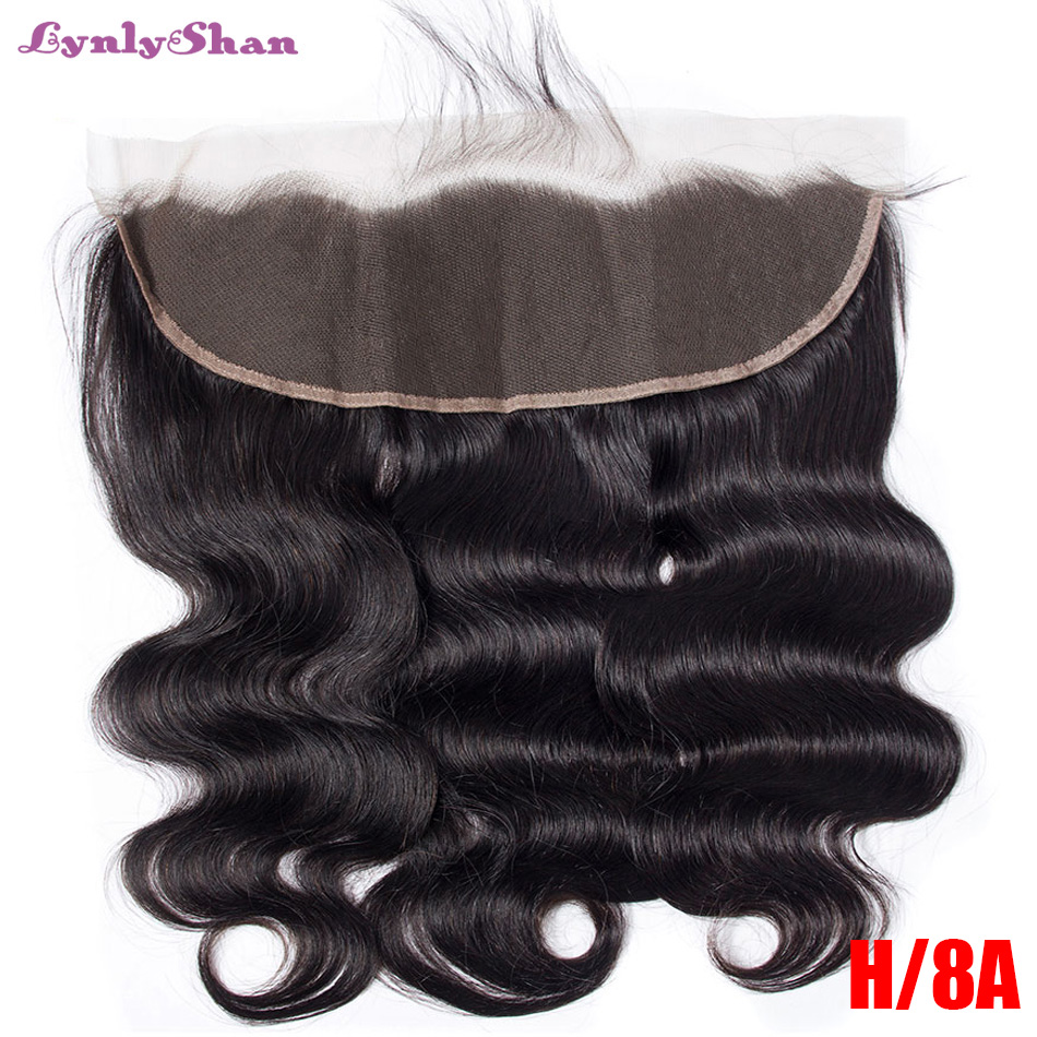 Lynlyshan Hair Body Wave Brazilian Human Hair Lace Frontal 13x6 Lace Frontal Closure With Baby Hair Remy Hair Swiss Lace