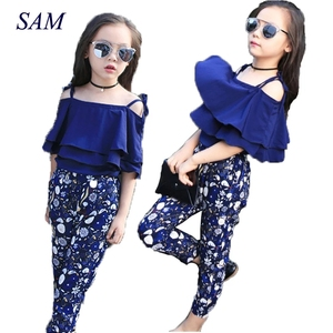 Image 1 - Girls Set Clothes Kids Fashion Top Pant Two Piece Children Summer Suit Girls Boutique Outfits 7 8 9 10 11 12 13 14 Years