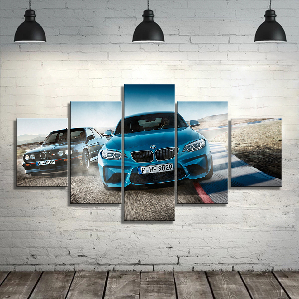 Canvas Printed Poster Home Decor 5 Pieces HD Bmw M3 Blue Sport Car Paintings Wall Art Pictures Living Room Modular Framed