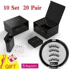 MB 10 Set 5 Magnetic Eyelashes False Eyelashes 3D/6D  Natural Lengthening Makeup 20 Pair Magnets Mink lashes Upper With Gift Box lengthening false eyelashes with glue