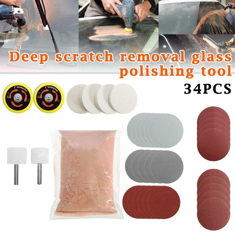 34pcs/Set Deep Scratch Remover Car Glass Polishing Kit Cerium Oxide Powder Sanding Disc PI669