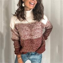 Sweter damski sweter z golfem dzianina w paski sweter damski sweter zimowy sweter damski sukienki swetrowe damskie 2019 w paski tanie tanio COTTON Akrylowe Acrylic Komputery dzianiny REGULAR Swetry HC1055 Pełna NONE STANDARD Brak Streetwear stripe Black brown