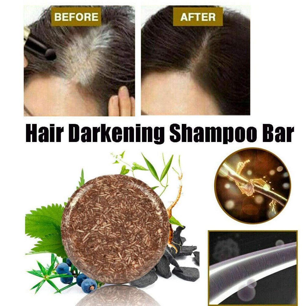 Essence Hair Darkening Unisex Adults Cleansing Health Care Regrowth Shampoo Bar Glossy Anti Dandruff Moisturizing Handmade