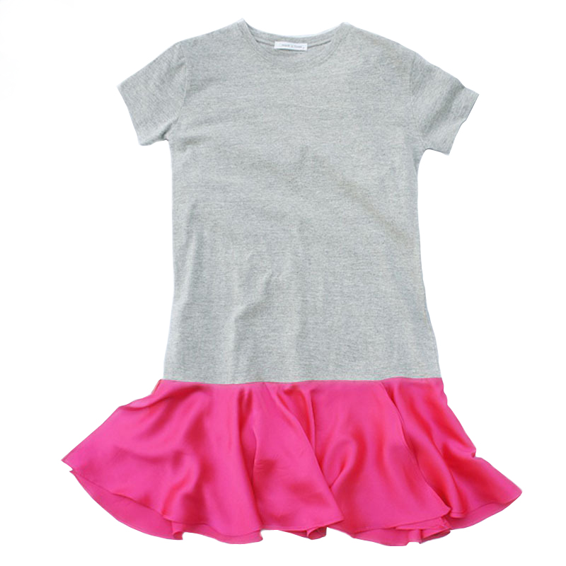3 4 <font><b>6</b></font> 8 <font><b>10</b></font> <font><b>12</b></font> 14 16 years Girls cotton dress 2020 summer kids short sleeve loose fashion dresses color-block princess frocks image