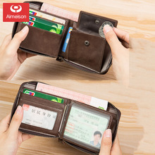 Men's Wallet Short Leather Zipper Multifunctional Driver's License Card Holder Leather New Men's Wallet Wallet ASBD038