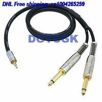 EMS/DHL 10pcs 3.5mm 스테레오 trs 2 웨이 L + R 6.35mm 모노 TS 케이블 30FT 어댑터 오디오 플러그 잭 케이블 22j
