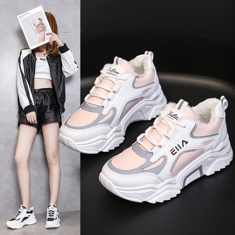 Women Women Casual Sneakers Winter Sneakers Plush Fur Keep Warm Women Shoes Lace Up Female Shoes Comrfortable Shoes Women