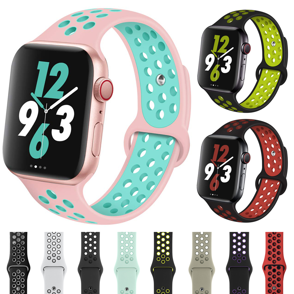 Sport Silicone Strap For Apple Watch Band Nike 44mm 40mm 42mm 38mm Dual Color Replacement Watch Band For IWatch Series 5 4 3 2 1
