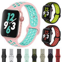 Sport Silicone Strap for Apple Watch Band Nike+ 44mm 40mm 42mm 38mm Dual Color Replacement Watch band for iWatch series 4 3 2 1 top for apple watch band nike silicone replacement sport band for apple series 4 band for iwatch 4 bands 44mm 38mm series 3 2 1