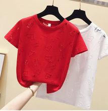 O novo verão manga curta moda feminina tendência de 2021 oco solto curto gola redonda camiseta