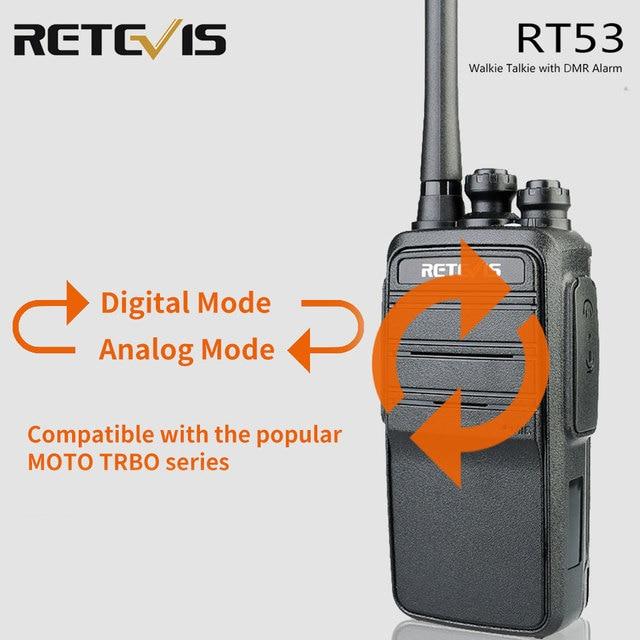 Retevis RT53 DMR Digital Walkie Talkie UHF อมาโด้ดีเอชที VOX ดิจิตอลแอนะล็อกสองทางวิทยุ Comunicador Transceiver แฮนด์ฟรี walkie talkie