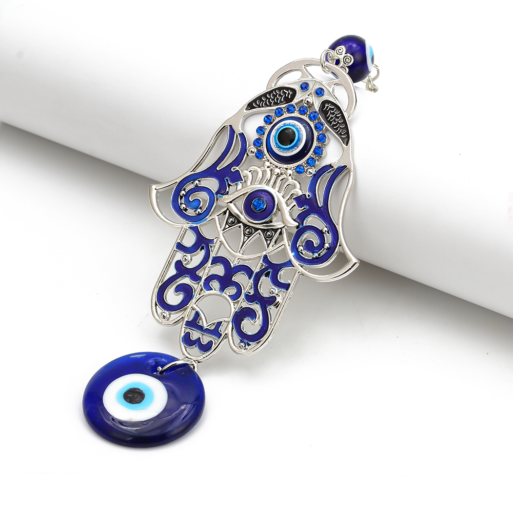 MEIBEADS 1pc Turkey Blue Evil Eye Glass Hamsa Hand Charms Wall Hang Keychian Jewelry Fit Women Diy Fatima Hand Gift