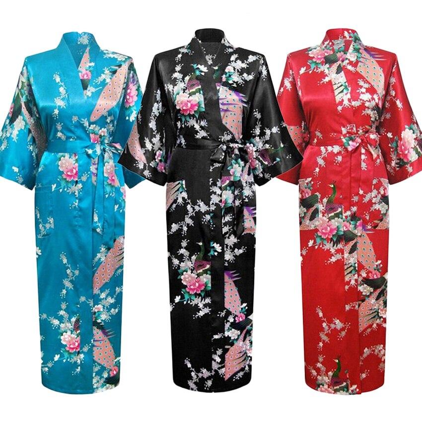 Длинное, стильное, свободное, японское, сатиновое, с павлином, Женская юката, ночная рубашка