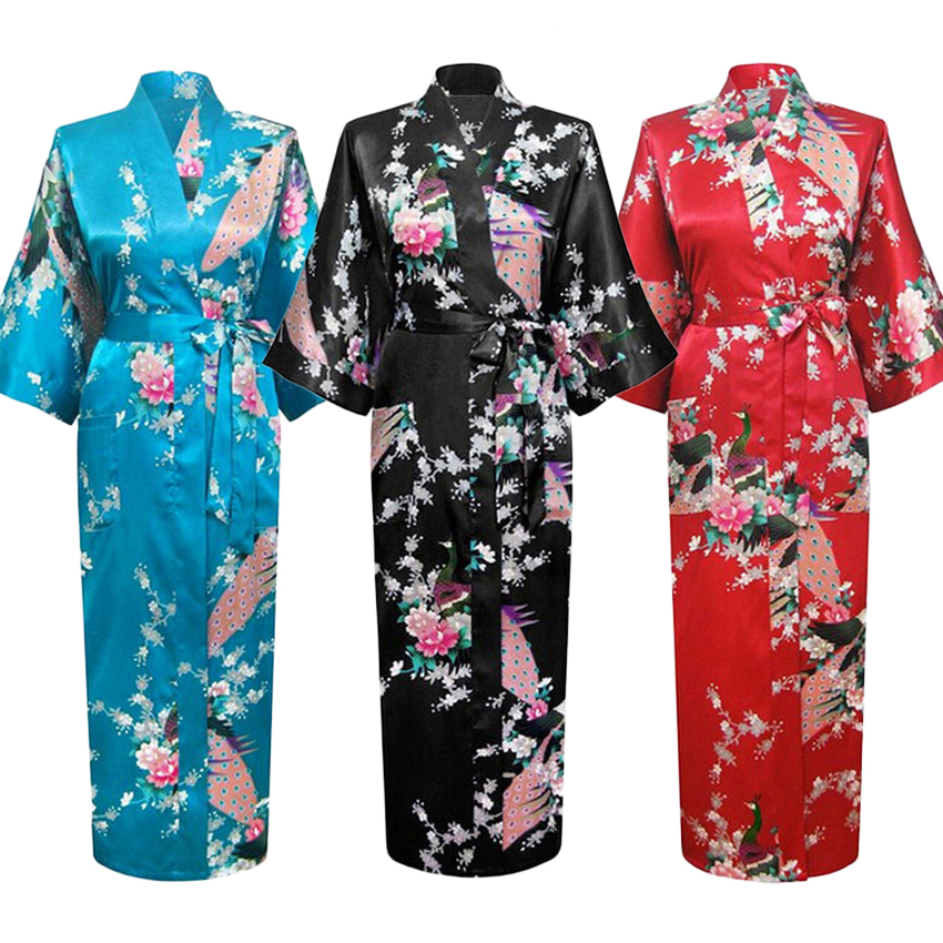 Long Style Loose Japanese Satin Peacock Woman Yukata Dress Sleepwear Oriental Kimono Haori Chinese Qipao Nightgown Robe