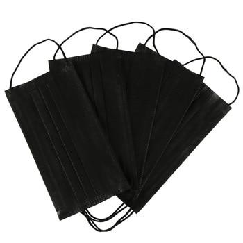 10/20/50/100Pcs Mouth Mask Disposable Black Cotton Mouth Face Masks Mask Earloop