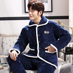 Winter Warm Flannel Pajamas Set for Men Lounge Male Coral Fleece Sleepwear Three-Layers Quilted Home Clothes Winter Thick Pajama