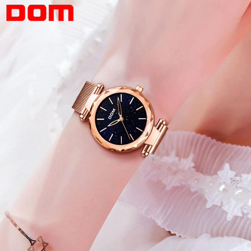 DOM Stainless Steel Women Watches Shiny Starry Sky Watch Women Fashion Gold Wristwatch Waterproof Ladies Watches G-1244GK-1M