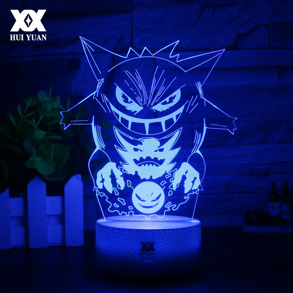 New Pokemon Gengar 3D Lamp Cool Colorful LED Night Light USB White Base Cartoon Decorative Desk Lamp Child Christmas Gift