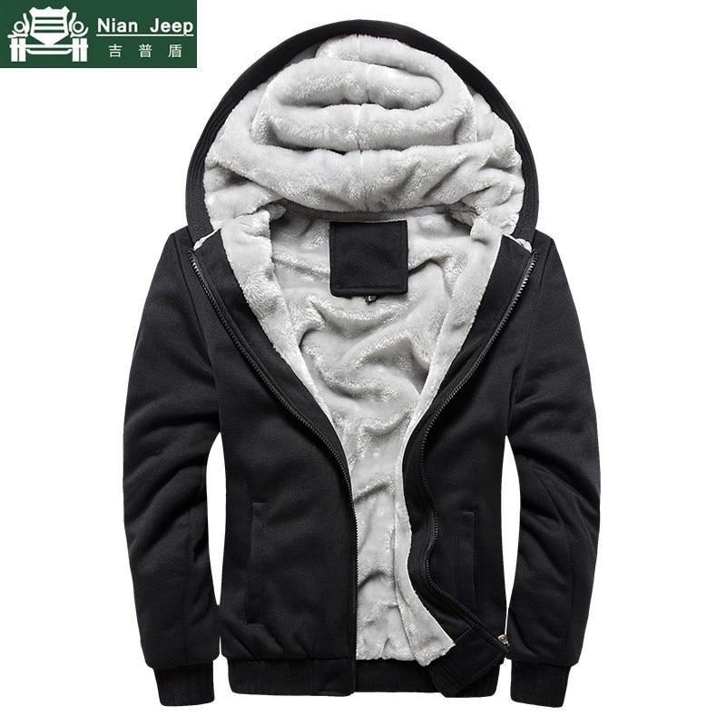 Fashion Winter Thick Hoodies Men Casual Hooded Wool Liner Warm Sweatshirt Men Zipper Coats Sudadera Hombre Plus EU Size S-5XL