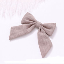 Cotton Linen Hairpins Grips Girls Women Cute Sweet Hair Accessories candy color Color Tail Bow Hair Clips Barrettes Headwear