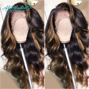 Ali Grace Body Wave Lace Front Human Hair Wigs Omber Wigs HighLight Brown Human Hair Wigs 13x4 Human Hair Lace Wigs for Women(China)
