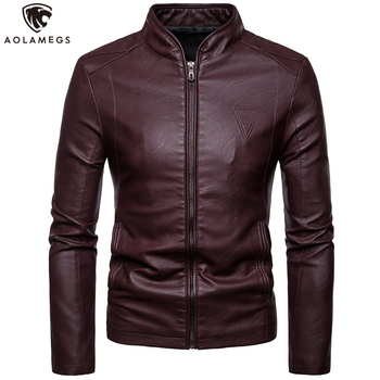 Aolamegs Leather Jacket Men Slim Standing Collar PU Leather Jackets Solid Color Fashion Coat Motorcycle Jacket Men Streetwear hanqiu leather jacket men winter autumn pu faux leather solid jackets slim fit zipper pocket stand collar casual men jacket