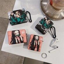 Cute Japan Demon Slayer Earphone Case For Apple AirPods 1 2 3 Pro Trunk Wireless bluetooth headset Anime Kimetsu No Yaiba Cover