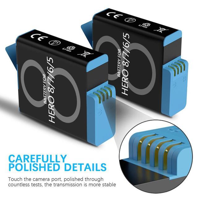 Anjielosmart Fast Charging Black Battery or Triple Charger for GoPro Hero 8 Hero 7 Hero 6 Hero 5 Black Camera Battery 5
