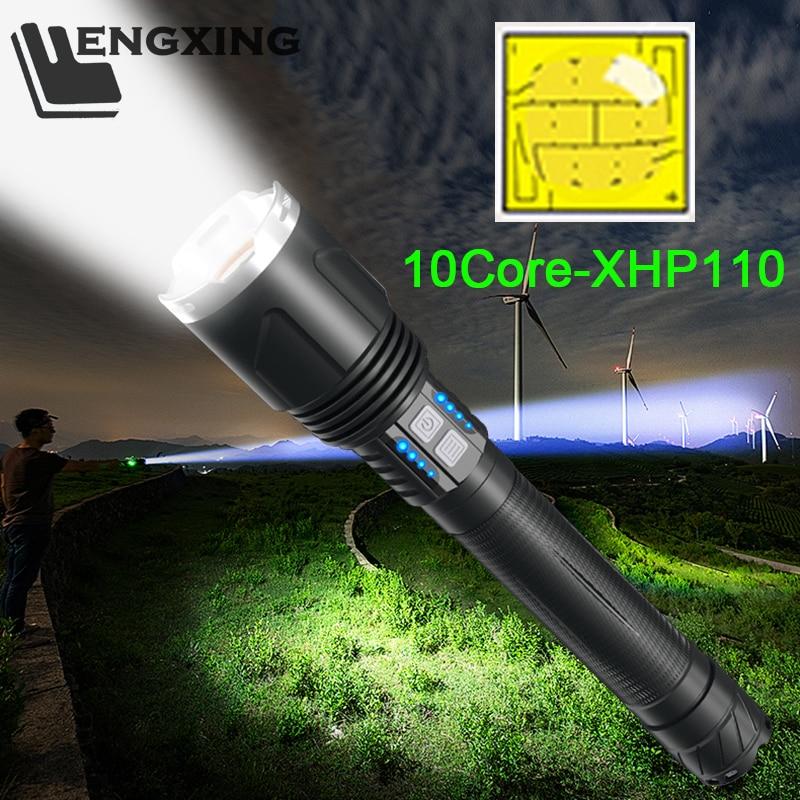 Super Bright XHP110 Super Bright latarka XHP90 latarka Zoom Usb akumulator 26650 akumulator ręczny reflektor Camping latarnia